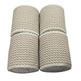 ZJCCTO Cotton Elastic Bandage 4 Pack. 2 Inches Wide x (13 to 15 ft. When Stretched) with Hook and Loop on Both Ends, Latex Free Bandage. Perfect Compression Wrap for Varicose Veins,Sprained Ankle