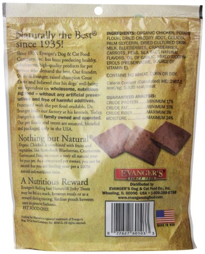 Image of Evanger'S 776300 Nothing But Natural Organic Chicken Dog Treats, 4.5-Ounce