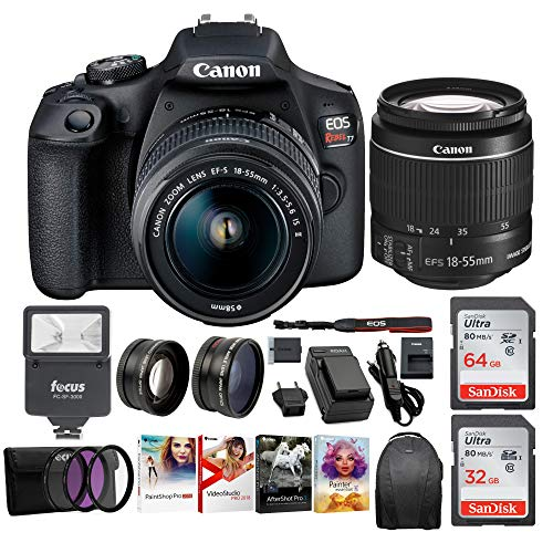Canon EOS Rebel T7 Digital Camera: 24 Megapixel 1080p HD Video DSLR Bundle W/Wide Angle 18-55 MM Lens 64 & 32GB SD Cards + Flash + Spare Battery – Professional Vlogging Sports and Action Cameras