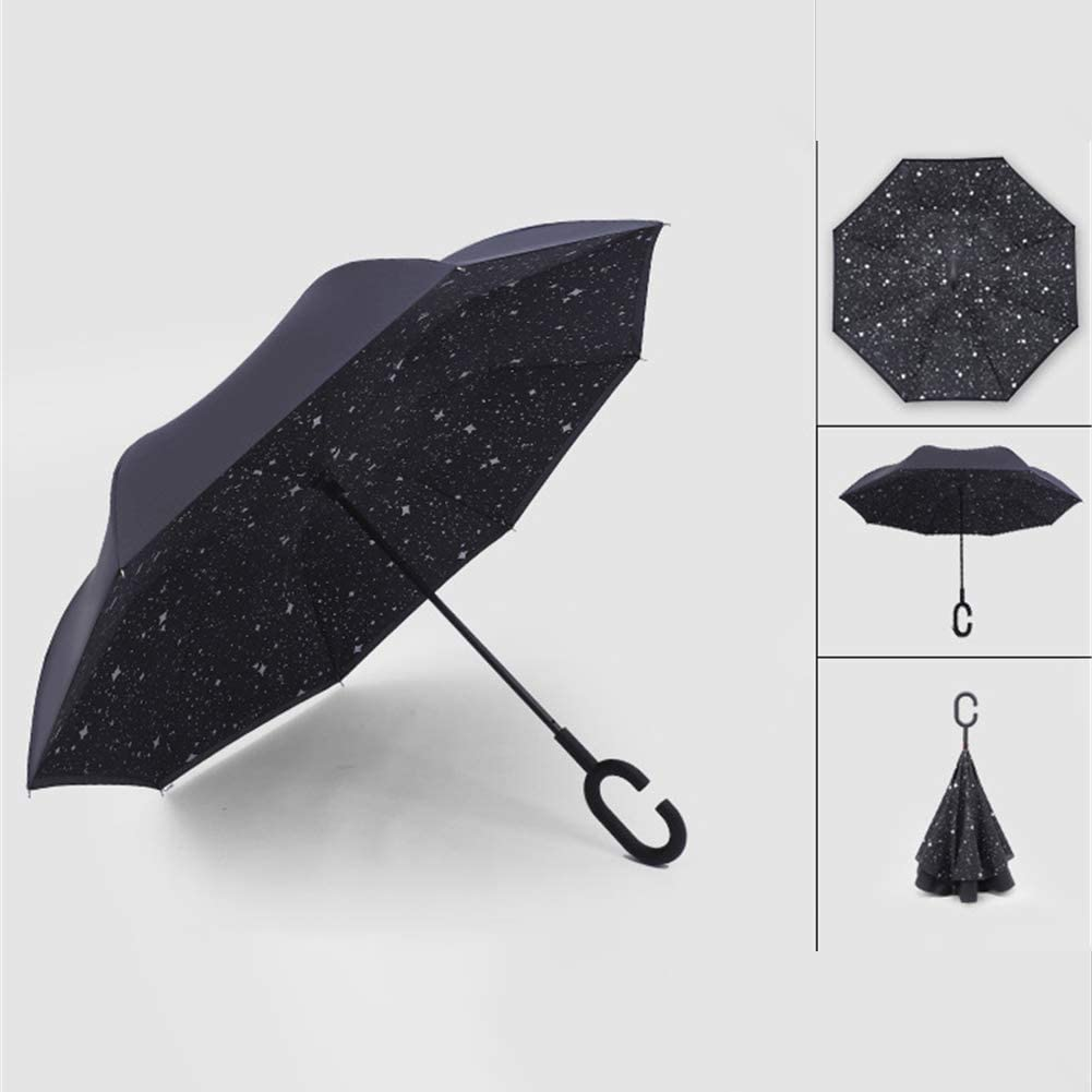 Lin Nan Reverse Inverted Umbrella,Standable Double-Layer Hands-Free Sun Protection C-Shape Handle Self-Stand Inside-Out Fold Traveling Windproof UV Traveling