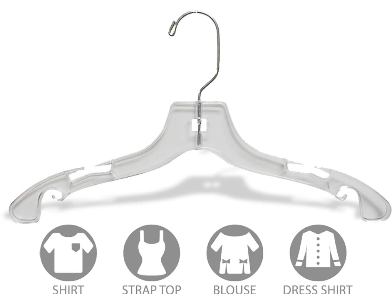 The Great American Hanger Company Clear Plastic Baby Top Hanger, Box of 25 Small 10 inch Space Saving Childrens Shirt Hangers with Notches and 360 Degree Chrome Swivel Hook