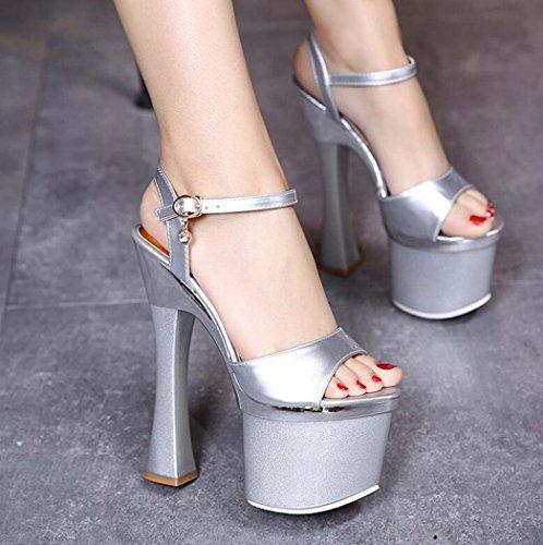 para Hebilla Silver Black o Size Sandalias Discoteca de Sandalias Impermeables con Abierta Plata 34 Mujer Punta con Correa Tama Color 38 39 qvxwOt7FO