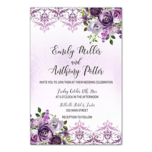 100 Wedding Invitations Purple Plum Lavender Damask Floral Design + Envelopes (Invitations White Damask Kit)