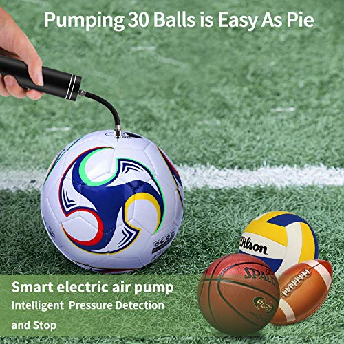 Automatic Morpilot Electric Fast Ball Pump with Needle and Nozzle - Air Pump for Inflatables, Athletic Basketball, Soccer, Volleyball, Football, Sport Ball and Swimming Ring - Faster Inflation - Porta by Morpilot (Image #1)