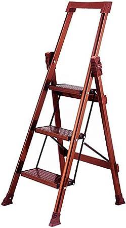 WYNZYTD Escalera Plegable, 3 Pasos - Escalera De Aluminio Multifunción, Escalera De Tijera Plegable For Jardín De Biblioteca Interior, 57 × 49 × 115 Cm, Rojo Marrón: Amazon.es: Hogar