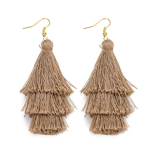 HOTER Women Fashion Layered Tassel Christmas Tree Earrings for Xmas 9 Colors