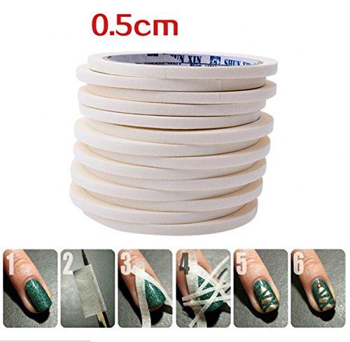 10 Roll Nail Art DIY White Stripe Glue Tape Roll Edge Guides Decoration Tool 0.5cm x 17m by Neutral