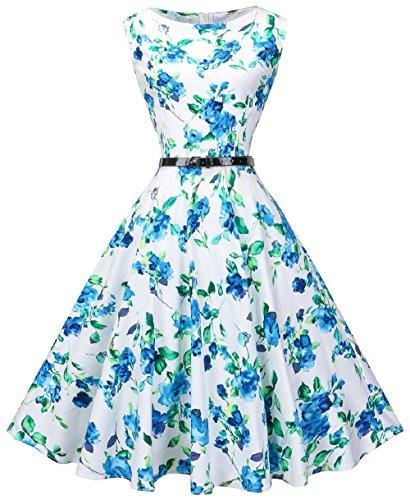 VOGVOG Women Boatneck Sleeveless Vintage Tea Cocktail Dress with Belt, Blue Floral, Medium