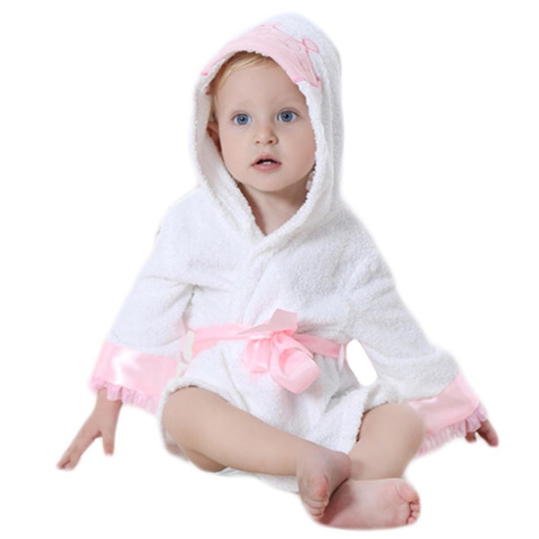 Kolylong Baby Bathrobe Boy Girl Lovely Cartoon Animal Velvet Robe Towel Pajamas Dress Clothes by Crown)