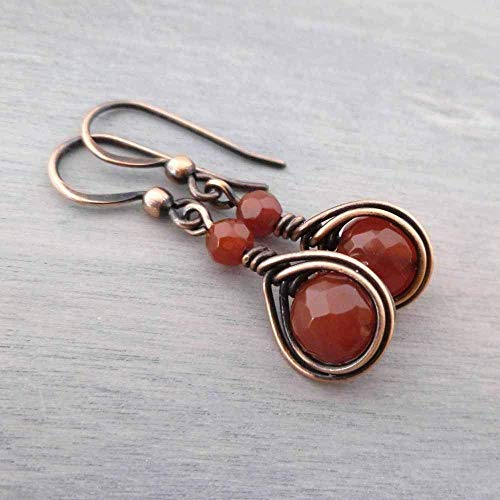Copper Wire Wrapped Earrings with Carnelian Gemstone