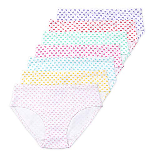 (Lucky & Me | Gracie Girls Brief | Organic Cotton Underwear | Tagless | 7-Pack (Kids 9/10, Candy Heart))