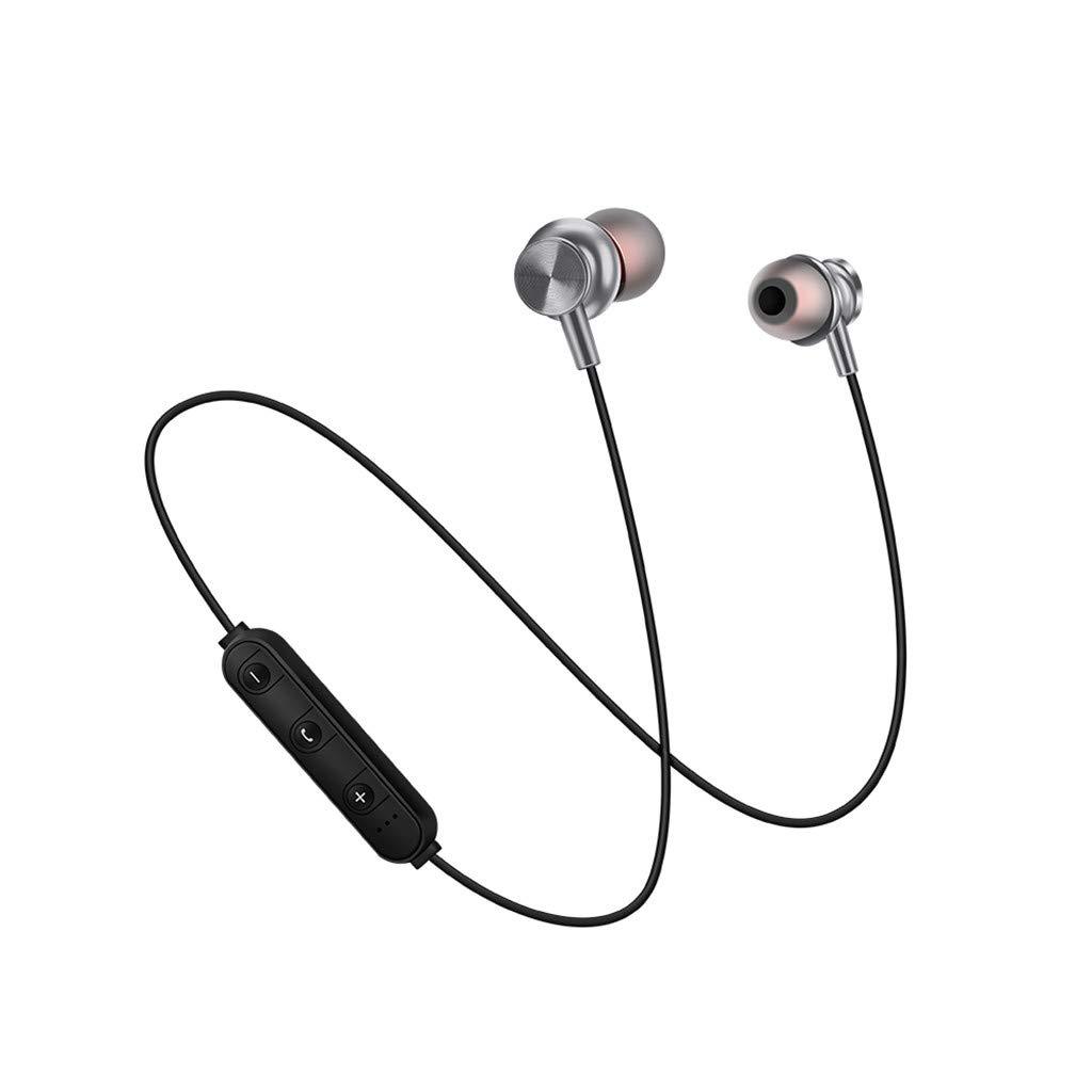 MiMiey Magnetisches Bluetooth Headset 4.2 Drahtloses Sport Bluetooth Headset mit Hängendem Nacken (Grau)