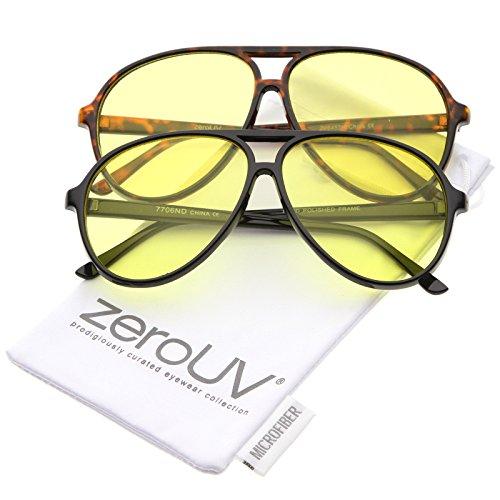 (Retro Large Blue Blocking Lens Aviator Sunglasses 60mm (2-Pack | Black/Yellow & Tortoise/Yellow))