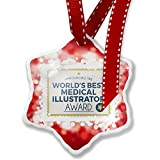 Christmas Ornament Worlds Best Medical Illustrator Certificate Award, red - Neonblond