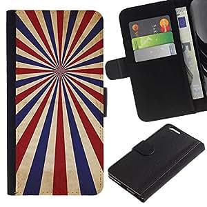 NEECELL GIFT forCITY // Billetera de cuero Caso Cubierta de protección Carcasa / Leather Wallet Case for Apple Iphone 6 PLUS 5.5 // PSICODÉLICA AZUL ROJO RAYAS