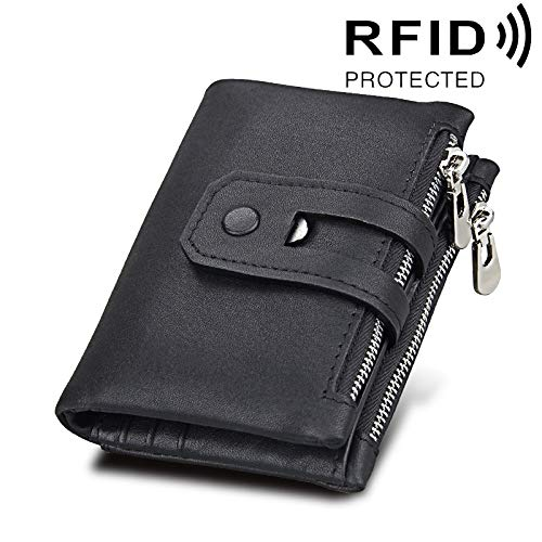 (XIANCHUAN Real Cowhide Leather Fruitcake Horse Texture Zipper 3-folding Card Holder Wallet RFID Blocking Coin Purse Card Bag Protect Case for Men, Size: 12 * 9.5 * 3.5cm (Color : Black))