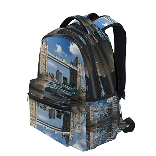 KVMV Tower Bridge with City Cruise in Summer Day Mirroring On Tranquil Thames River Lightweight School Backpack Students College Bag Travel Hiking Camping Bags (Best River Cruises In Usa)