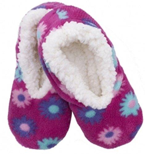 Ladies Foxbury Soft Flower Design Sherpa Fleece Lined Slipper Soft Gripper Sole Pink Jhk8yTtwCl