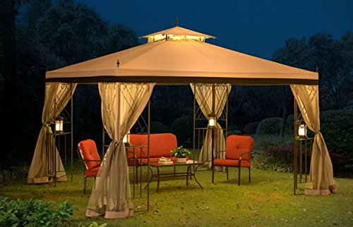 10×12 Gazebo Canopy Outdoor Patio Garden Backyard Dining Pergola Steel Frame Soft Top with Netting For Sale