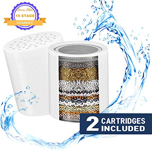 Stage Oval Water - 15-Stage Replacement Cartridges for Shower Water Filter with Vitamin C for Hard Water - Compatible with Universal Shower Head and Handheld Shower