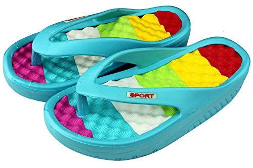 ANBOVER Womens Beach Wedges Platform Massage Thong Slippers Flip Flops Sandals Blue HUSUvF0nRg