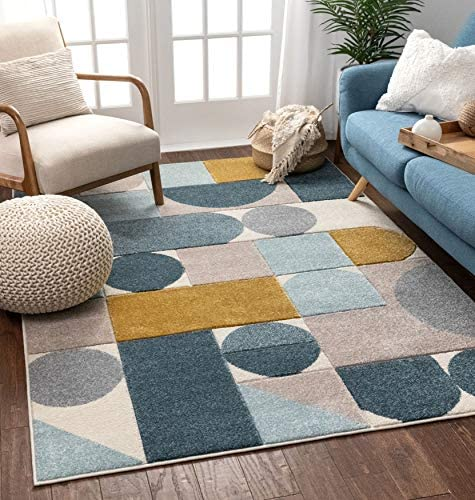 Well Woven Ruby Dede Blue Mid-Century Modern Geometric 3 11 x 5 3 Area Rug, Cream