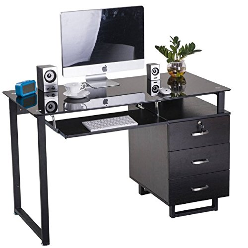 Large Glass Computer Desk Office Desk with Keyboard Tray and 3 Drawers, Tempered Glass Top With Metal Legs, Contemporary Style, Black by GAShop