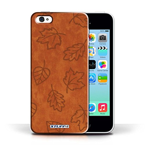 Etui pour Apple iPhone 5C / Orange conception / Collection de Motif Feuille/Effet Textile