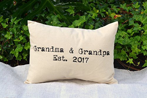 Grandma  Grandpa 2017 Grandparent Pillow for this year, Pregnancy Announcement, Grandparent Gift Pillow with Ampersand First Grandchild announcement