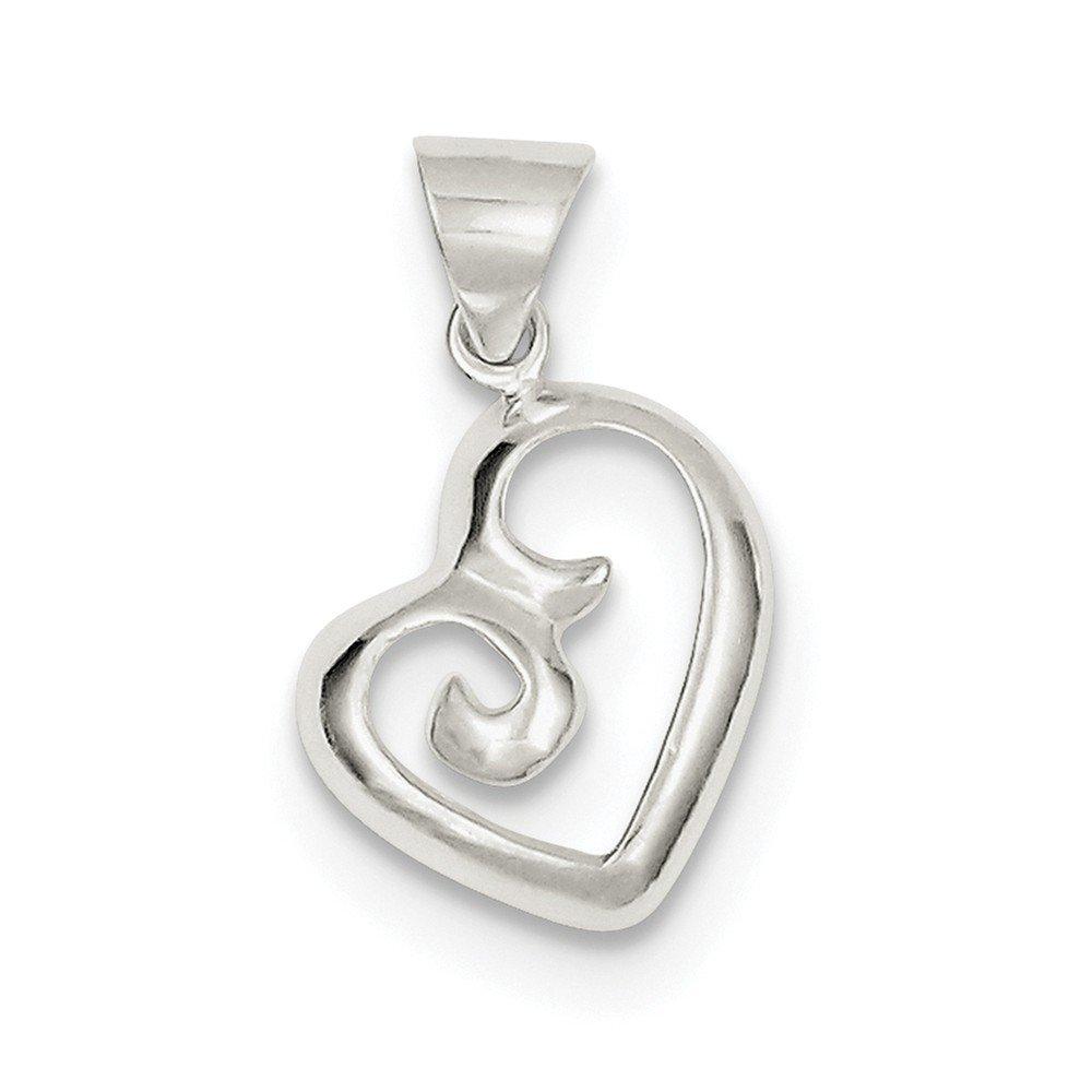 Sterling Silver Polished Fancy Swirl Heart Pendant