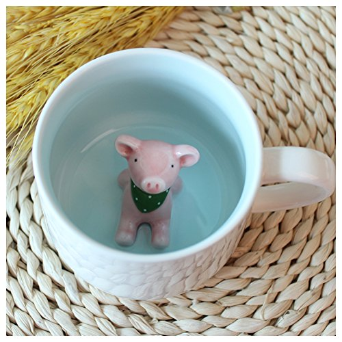ature Animal Figurine Ceramics Coffee Cup - Baby Pig Inside, Best Office Cup & Birthday Gift (Pig) ()