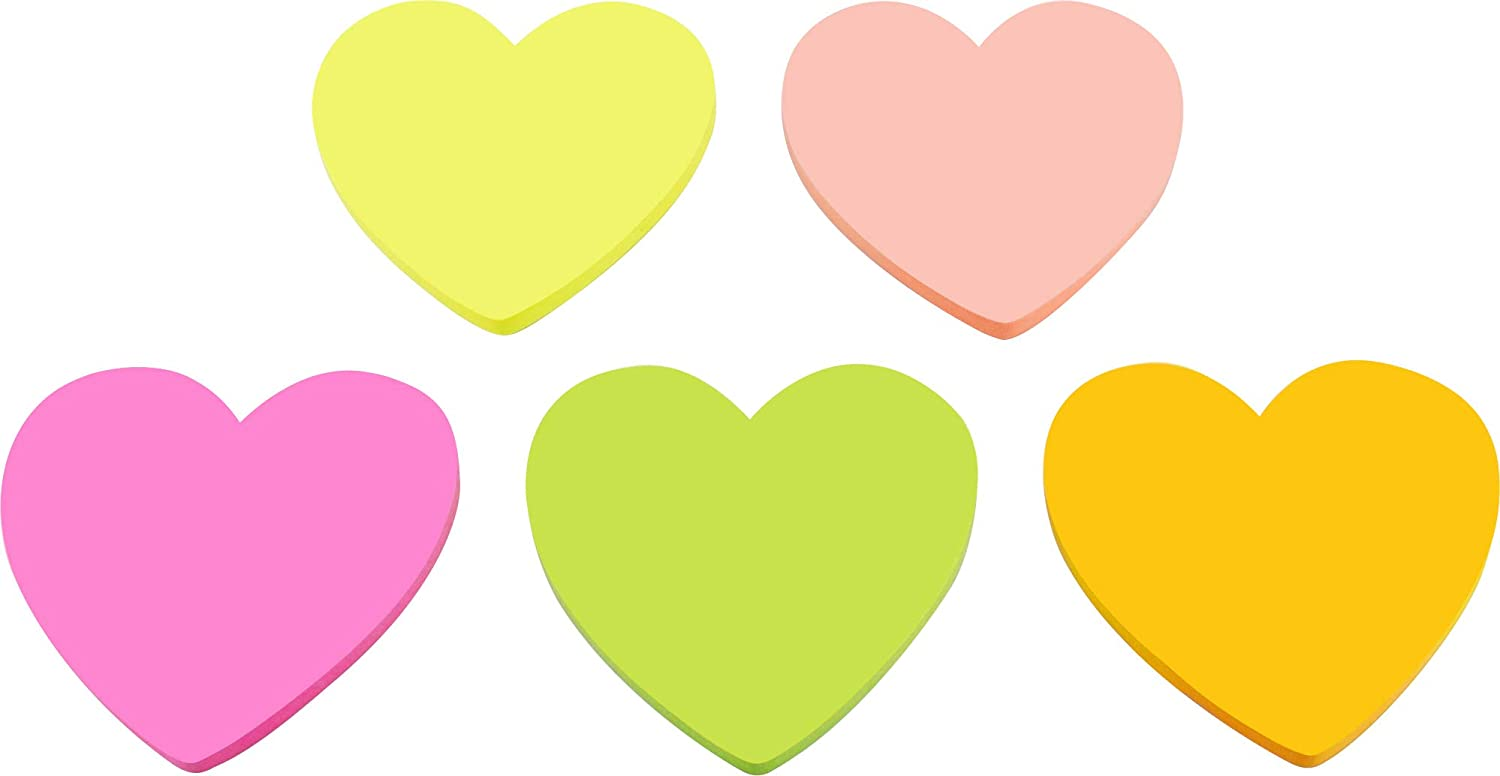 4A Shapes Sticky Notes,Heart Shape,3 x 3 Inches,Fluorescent Collection,Self-Stick Notes,200 Sheets/Pad,1 Pad/Pack,4A 5036