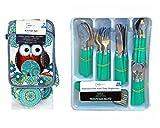 Mainstays 48 piece Aqua Flatware Set With Organizer and 7 Piece Owl Kitchen Towel Set