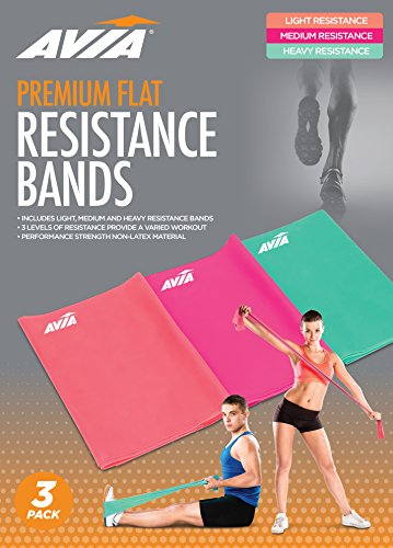 AVIA | 3 Pack TPE Varying Resistance Bands Mint, Coral, Pink
