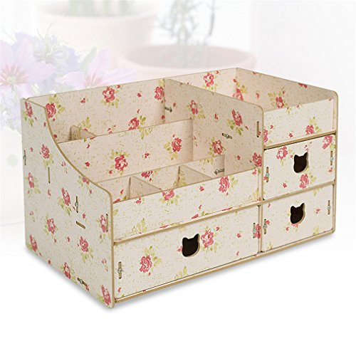 Wood Cosmetic Organizer Assembly Wooden Pink Makeup Organizer Drawers Factory Jewelry Box Blue by Cosmetic rack (Image #6)