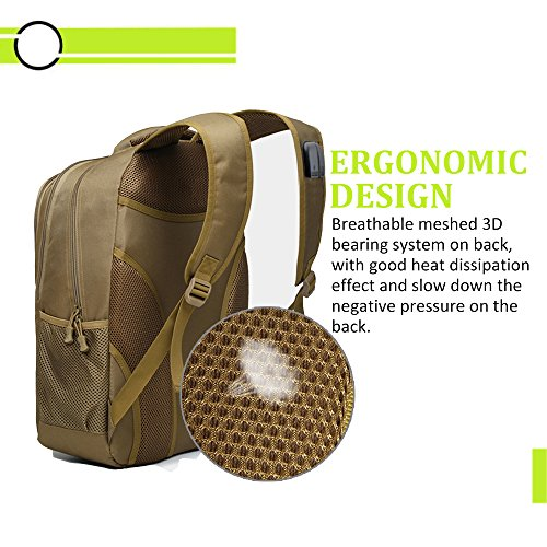 Backpack, Schoolbag, Business Laptop Computer Rucksack, Tactical Backpack, with USB Charging Port and Headset Port, Suitable for Outdoor Exercise, School, Cycling and Travel by Qcute (Image #3)