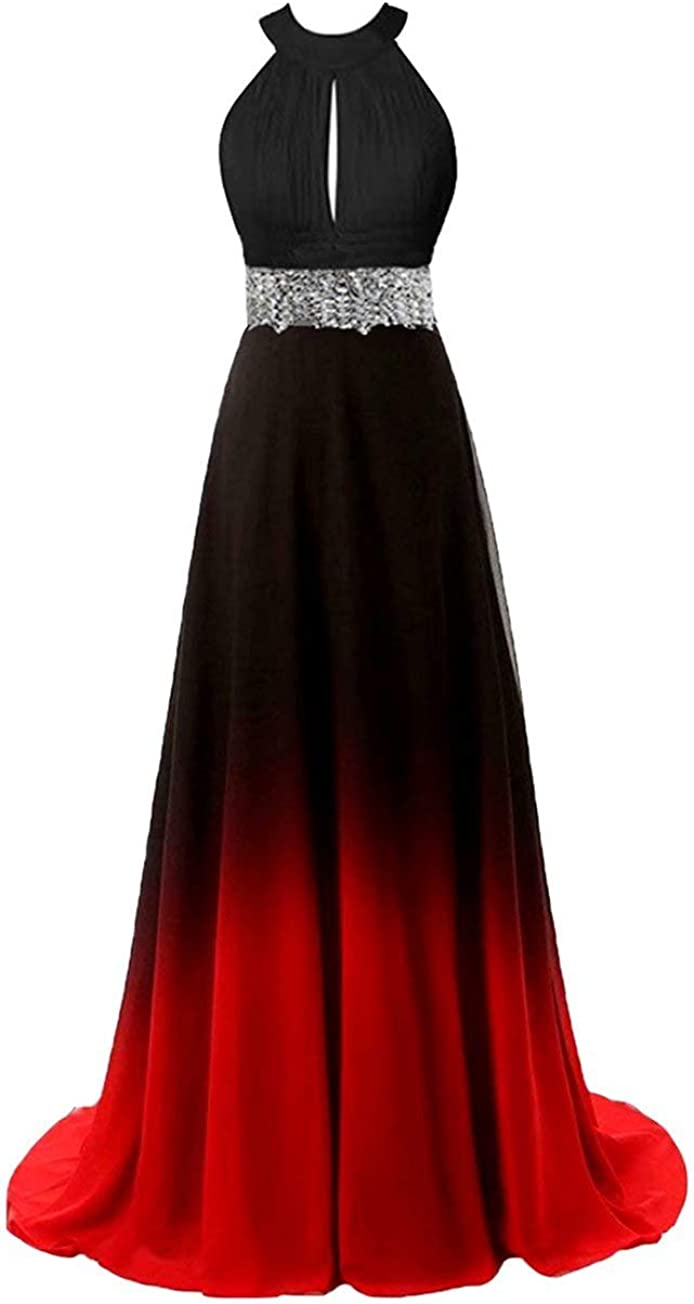 Beaded Top Gradient Evening Prom Dresses Ombre Long A Line Chiffon Bridesmaid Dress Formal Gowns 2019 Style C-Black&Red