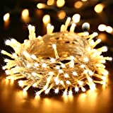 Qedertek Christmas Lights, Plug in Fairy Lights 66ft 200 LED Indoor Christmas Decorative Lights with 8 Lighting Modes for Home, Wedding, Xmas Tree Decorations (Warm White)