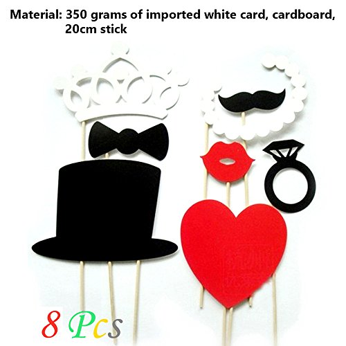 [Ieasycan Mustache Stick Wedding Party Photo Booth Props Photobooth Funny Masks Bridesmaid Prop Lips Decoration] (Masquerade Masks Near Me)