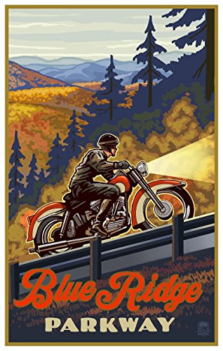 Blue Ridge Parkway North Carolina Motorcycle Climb Travel Art Print Poster by Paul A. Lanquist (12