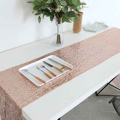 Pack of 10 12x72 Inch Rose Gold Sparkly Sequin Tablerunner Gliter Wedding Party ()