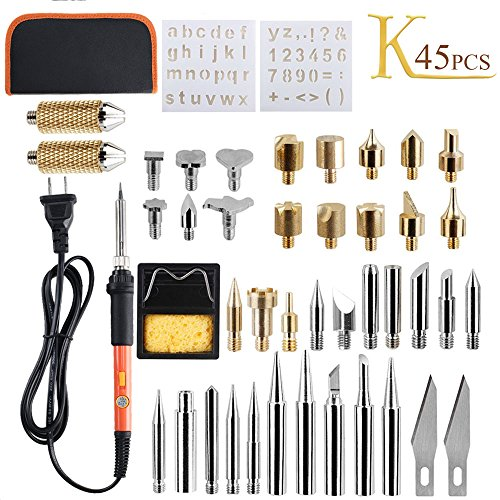 KINDPMA Wood Burning Kit 45 Pcs 60 Watt Adjustable Temperature Soldering Iron Pyrography Pen Set with Carrying Case Include Carving/Embossing/Soldering Tips Stencil Stand for Leather Creative ()