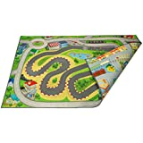 """Kids Double Sided Felt Play Mat - 2 in 1 Indoor/Outdoor, Machine Washable 59"""" L x 39"""" W… Save to Droplist Roll Over Image to Zoom in Kids Double Sided Felt Play Mat - (Racetrack/Town)"""