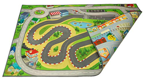 - Kids Double Sided Felt Play Mat - 2 in 1 Racetrack/Town, Indoor/Outdoor, Machine Washable 59