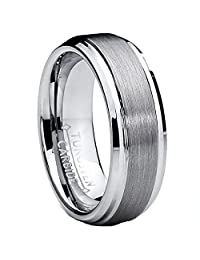 7MM High Polish/Matte Finish Men's Tungsten Ring Wedding Band Sizes 5 to 15