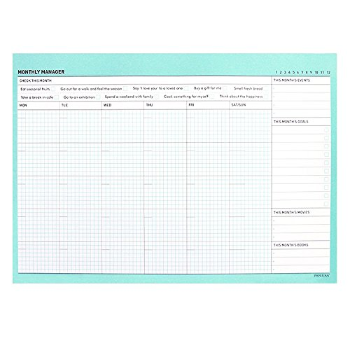 """Lovely Desktop Monthly Planner Pad Notebook To Do List Notepad Monthly Scheduler Pad Desk Planner Desk Blotter, 50 Sheets/Pad, 11.7"""" X 8.3"""" (Mint)"""