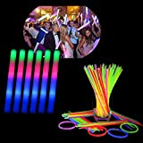 Blu7ive 130PCS Glow Sticks Bulk Pack, with 100 Glowsticks and 30 Foam Sticks, LED Flashing Light Up Batons Kids Toys Glow in The Dark Party Supplies for Birthday Wedding