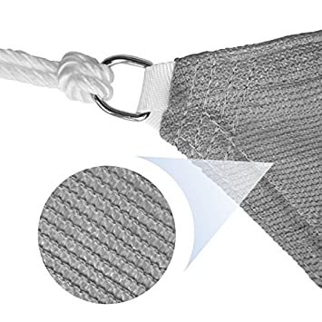 E K Sunrise 13 x 13 x 13 Light Grey Equilateral Triangle Sun Shade Sail Outdoor Shade Cloth UV Block Fabric,Curve Edge-Customized