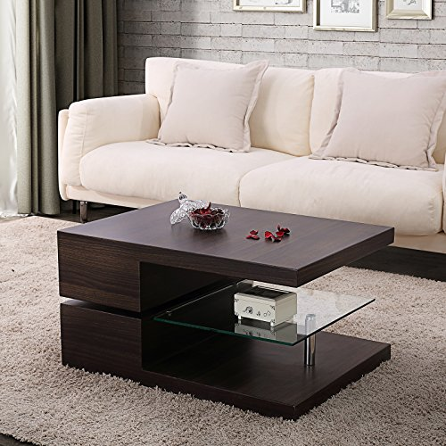 Mecor Swivel Rectangular Coffee Table, Modern Side/End/Sofa Table with 360 Degree Rotating Top, MDF Wood + Stainless Steel + Tempered Glass, Brown, 3 Tires, Living Room Furniture
