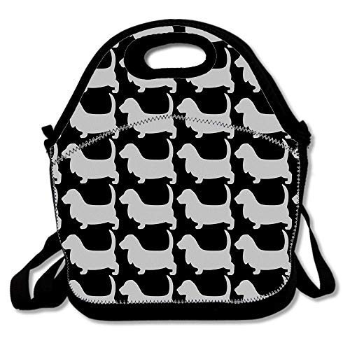 Basset Hound Silhouette Dog Insulated Neoprene Lunch Bag/Lunch Box/Lunch Tote/Picnic Bag Cooler Warm Pouch Lightweight Handbag Gourmet Food Containers